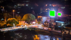 Time Lapse Crossroads Traffic And Big LED Green Screen Billboard Stock Footage