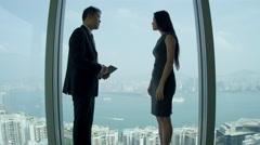 Male Ethnic Financiers City Skyscraper Boardroom Stock Footage