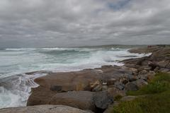 Ocean shore at storm Stock Photos
