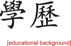 Chinese Sign for educational background - stock illustration