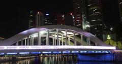 4K night time lapse of Elgin Bridge in Clarke Quay, Singapore Stock Footage