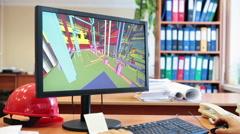 Tarkkaile näytön 3d-malli teollisuuslaitosten, insinööri työpaikalla Arkistovideo