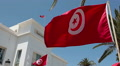 Flying flag of Tunisia in front of the administrative building. Sousse, Tunisia Footage