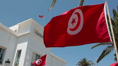 Flying flag of Tunisia in front of the administrative building. Sousse, Tunisia Stock Footage