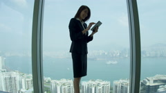 Asian Chinese Businesswoman City Boardroom Seeing Success Stock Footage