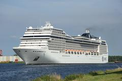 Velsen, the netherlands, july 7th, 2014 : msc magnifica Stock Photos