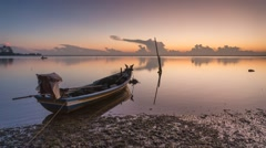 Timelapse Of Fisherman Boat at Calm Lake During Sunrise Stock Footage