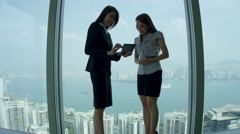 Asian Chinese Businesswomen Skyscraper Office Meeting Stock Footage