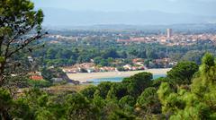 mediterranean beach in argeles-sur-mer france - stock photo