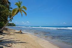 Pristine caribbean beach in costa rica Stock Photos