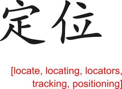 Chinese Sign for locate, locating,locators tracking,positioning - stock illustration