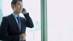 Male Asian Chinese Stock Broker Smart Phone Close Up - stock footage