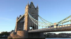 Tower Bridge in London in the evening Stock Footage
