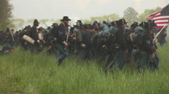 Soldiers forward march past cannon, Civil War scenes Stock Footage