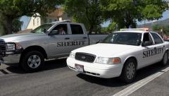 End of rural community parade sheriff HD 231 Stock Footage