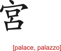 Chinese Sign for palace, palazzo - stock illustration