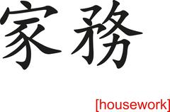 Chinese Sign for housework Stock Illustration