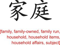 Chinese Sign for family, family-owned, family run, household - stock illustration