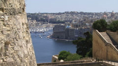 Aerial view Malta and harbor - stock footage