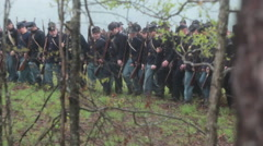 Soldiers forward march and stop short of tree line, Civil War scenes Stock Footage