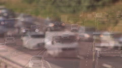 Busy roads congested with traffic and audio Stock Footage