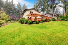 house with backyard landscape - stock photo