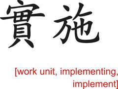 Chinese Sign for work unit, implementing, implement Stock Illustration