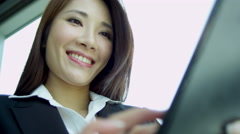 Ethnic Advertising Executive Touch Screen Technology Portrait - stock footage