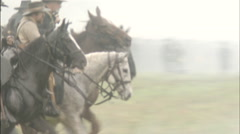 group of riders gallops through fog, Civil War scenes - stock footage
