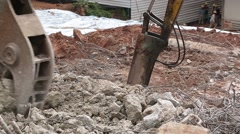 Excavator in action close up Stock Footage