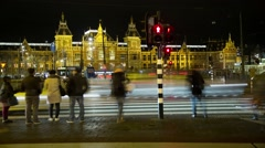 Amsterdam Train Station in view as travelers and cars Time lapse #03 Stock Footage