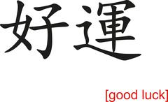 Chinese Sign for good luck - stock illustration
