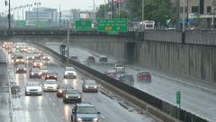 Underground highway with cars driving both sides with city and signs Stock Footage