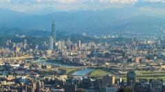 Time lapse of Taipei, Taiwan evening skyline. Stock Footage