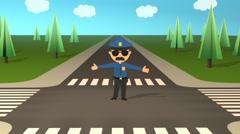 Policeman Directs Traffic On Road.Cop Uniform Law Patrol Stock Footage