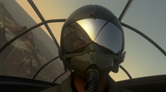 Fighter Pilot In Flight. Military Airplane War Army Stock Footage