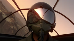 Fighter Pilot In Flight. Military Airplane War Army - stock footage