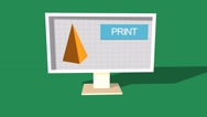 Stock Video Footage of Simple Animation of Printing a Pyramid with a 3D Printer. Green Background.