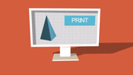 Stock Video Footage of Simple Animation of Printing a Pyramid with a 3D Printer. Red Background.