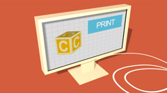Simple Animation of Printing a child block with a 3D Printer. Red Background. Stock Footage