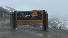Alaskan border sign in US and Canada border Stock Footage