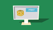 Stock Video Footage of Simple Animation of Printing a child block with a 3D Printer. Green Background.