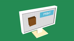 Simple Animation of Printing a plant box with a 3D Printer. Green Background. - stock footage