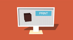 Simple Animation of Printing a plant box with a 3D Printer. Red Background. - stock footage