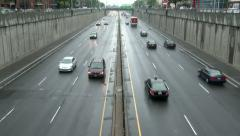 Highway with car driving on both lanes in different directions Stock Footage