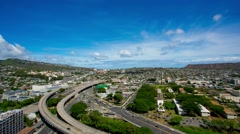 TImelapse of Freeway and Diamondhead Waikiki during daytime Stock Footage
