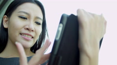 Female Asian Chinese Business Advisor Wireless Tablet Stock Footage