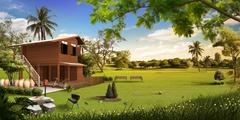 Wooden house in the meadow Stock Illustration