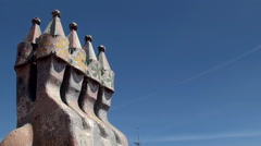 Types of Casa Batlló (House of Bones). Roof's towers Stock Footage