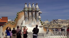 Tourists at the roof of Casa Batlló. Barcelona, Spain. Stock Footage